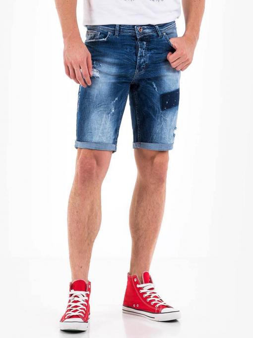 Мъжки накъсани дънкови бермуди 13024 INDIGO Fashion