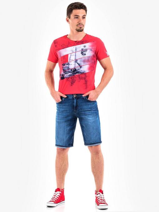 Мъжки прави дънкови бермуди 15015 INDIGO Fashion
