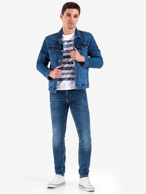 Слим фит мъжки дънки в цвят деним 3202 INDIGO Fashion