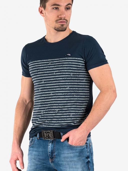 Тъмносиня мъжка тениска на райе от Indigo Fashion 3