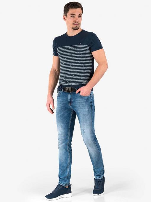 Тъмносиня мъжка тениска на райе от Indigo Fashion 2