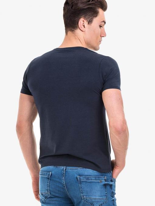Мъжка вталена тениска XINT 721 INDIGO Fashion