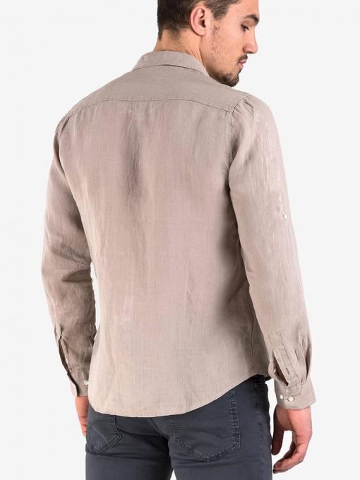 Мъжка лятна ленена риза - тъмнобежова 700609 INDIGO Fashion