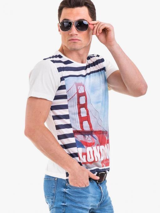 Мъжка тениска с обло деколте VIGOSS 60101 INDIGO Fashion