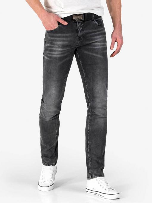 Мъжки сиви слим фит дънки с колан 50002 INDIGO Fashion