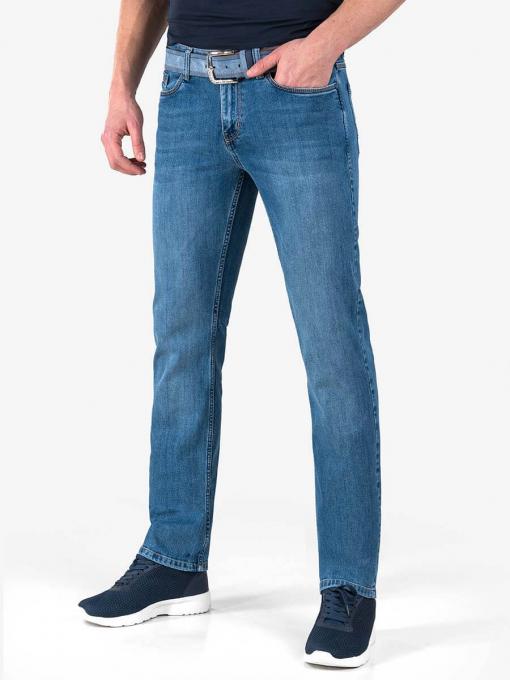 Прави мъжки дънки с колан - тъмен деним 4807 INDIGO Fashion
