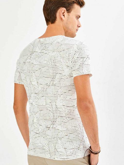 Памучна тениска с фигурален десен - цвят екрю 501435 INDIGO Fashion