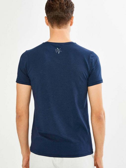 Тъмносиня мъжка тениска на райе 501474 INDIGO Fashion