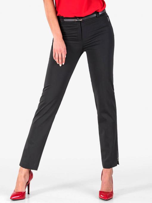 Елегантен панталон с кожен акцент - черен 1181 INDIGO Fashion