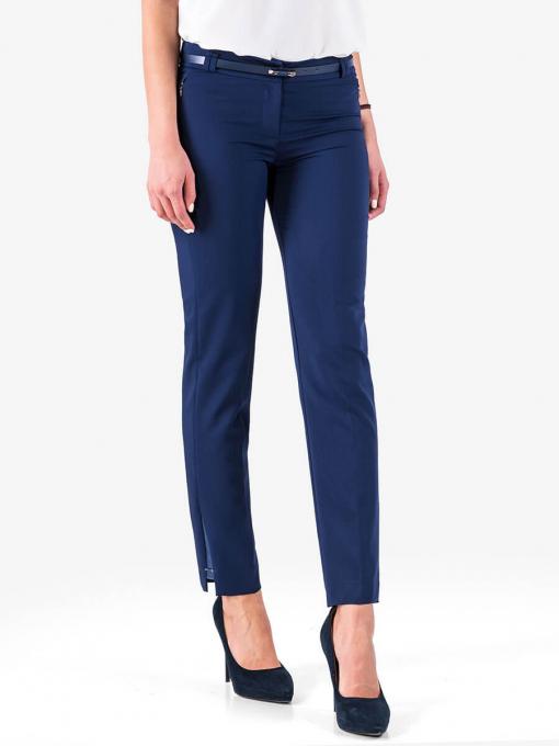 Елегантен панталон с кожен акцент - турско синьо - големи размери B1181 INDIGO Fashion