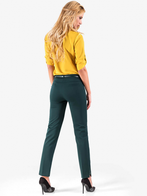 Елегантен панталон с кожен акцент - тъмно зелен 1181 INDIGO Fashion