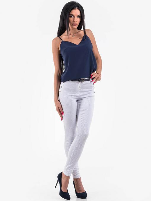 Дамски бял слим фит панталон 3094 INDIGO Fashion