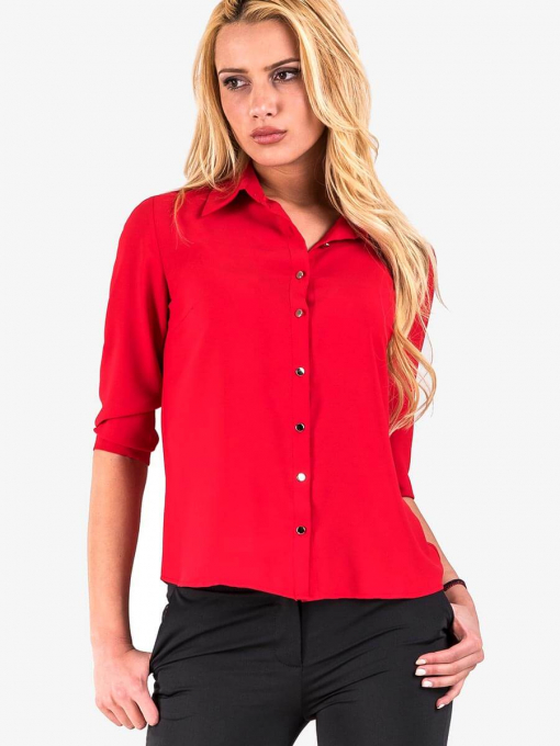 Дамска елегантна риза - червена 500 INDIGO Fashion