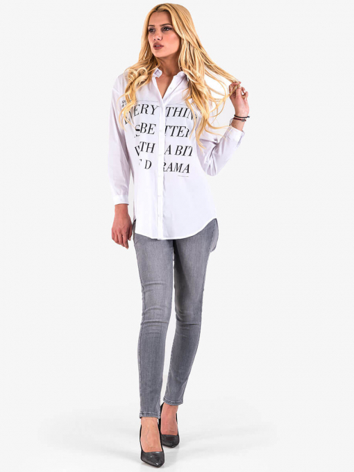 Дамска бяла риза с надписи 3187 INDIGO Fashion