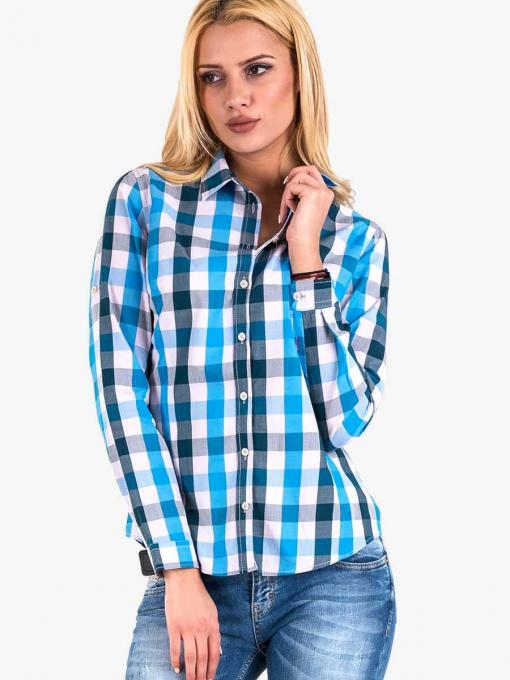 Дамска карирана синя риза 20099 INDIGO Fashion