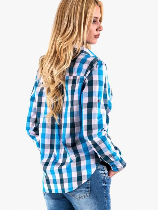 Синя карирана риза - свободен модел 20124 INDIGO Fashion