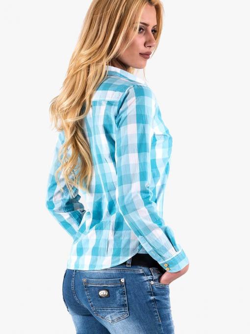 Карирана дамска  риза  - светло синя 20162 INDIGO Fashion