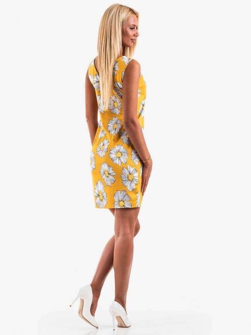 Жълта рокля на цветя 20070 INDIGO Fashion