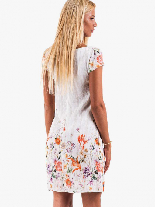 Ленена рокля с колие - екрю 95408 INDIGO Fashion