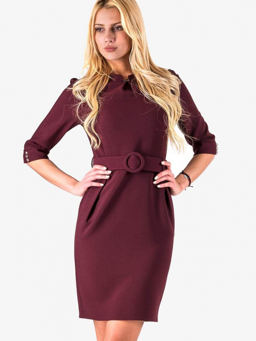 Елегантна рокля с колан в бордо - големи размери B17160 INDIGO Fashion