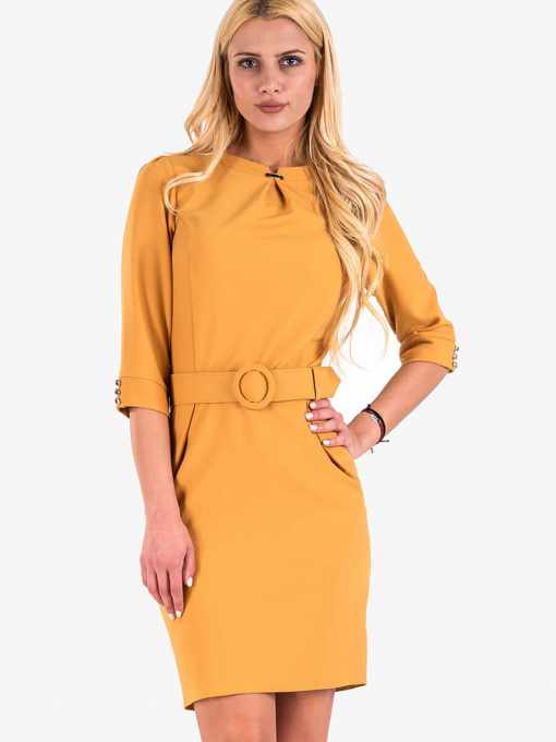 Елегантна рокля с колан в цвят горчица 17160 INDIGO Fashion