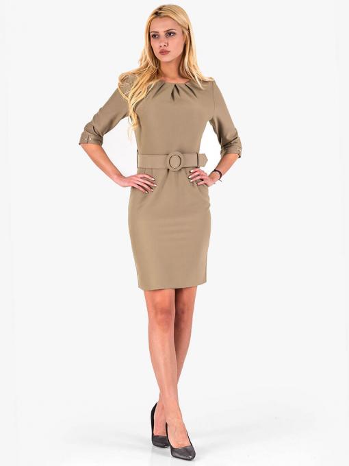 Вталена елегантна рокля - тютюнево зелена 17165 INDIGO Fashion