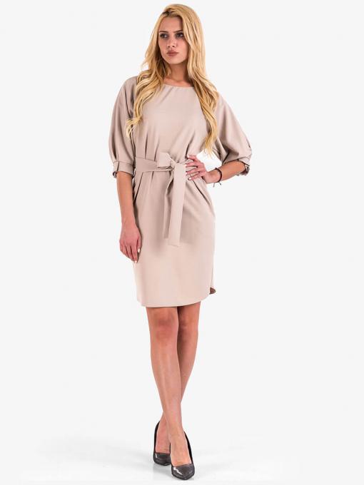 Светло бежова елегантна рокля 2544 INDIGO Fashion