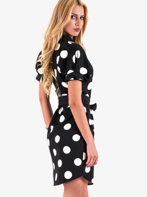 Черна рокля на бели точки 2554 INDIGO Fashion
