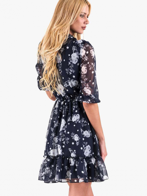 Ефирна тъмносиня рокля на цветя 2314 INDIGO Fashion