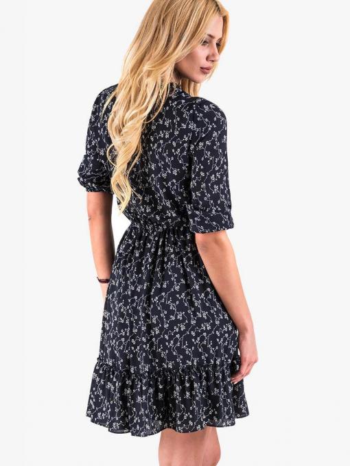 Ефектна рокля с флорален десен - тъмно синя 2314A INDIGO Fashion