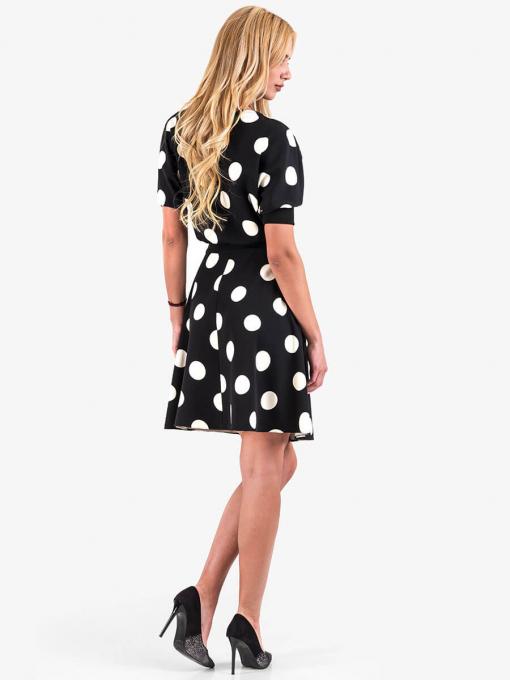 Елегантна рокля на големи бели точки - черна 1283 INDIGO Fashion