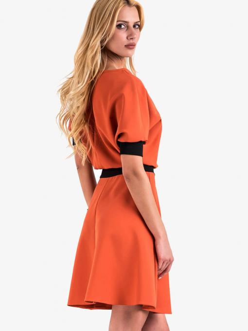 Елегантна рокля с къс ръкав - цвят керамида 1283 INDIGO