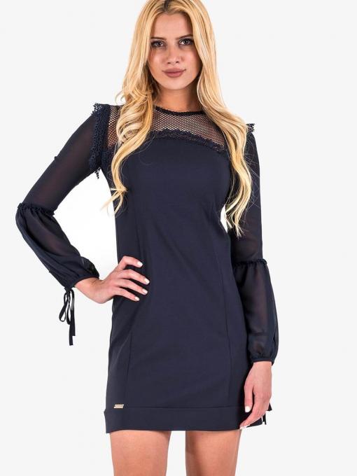 Къса тъмносиня рокля с тюл и дантела 3200 INDIGO Fashion