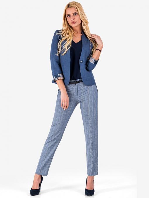 Дамски син елегантен панталон на каре 1197 INDIGO Fashion