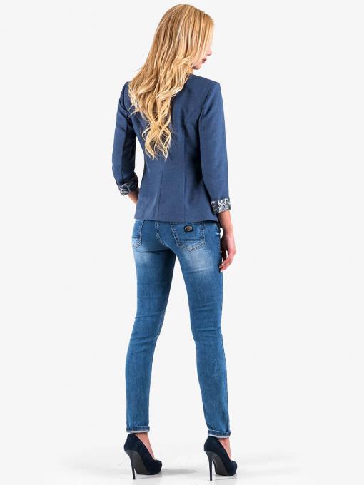 Дамско елегантно сако - синьо 7040 INDIGO Fashion