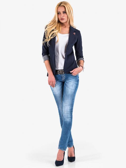 Дамско тъмносиньо спортно-елегантно сако B9597 INDIGO Fashion
