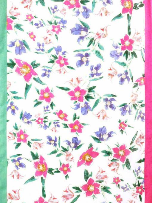 Дамски шал на стилизирани цветя - розов 11619 INDIGO Fashion