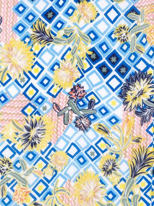 Дамски квадратен шал на цветя - син 11704 INDIGO Fashion