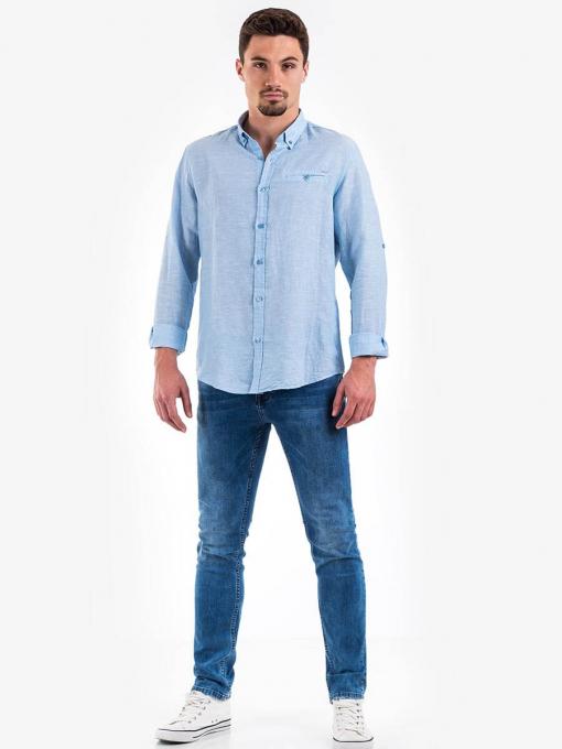 Ленена синя мъжка риза - големи размери B32250 INDIGO Fashion