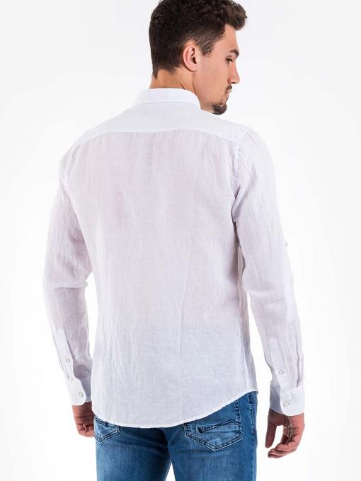 Бяла ленена мъжка риза - големи размери B32250 INDIGO Fashion