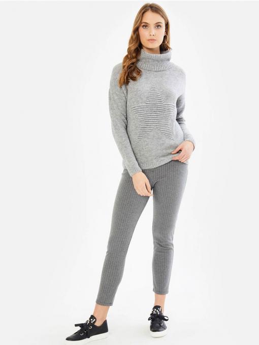 Дамска блуза с релефна звезда - сива 850320 INDIGO Fashion