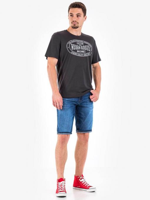 Мъжка памучна тениска с надпис - цвят графит