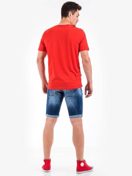 Мъжка памучна тениска с надпис - червена 10755 INDIGO Fashion