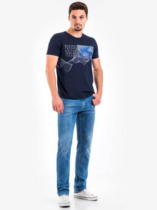Тъмносиня мъжка тениска с щампа 501408 INDIGO Fashion