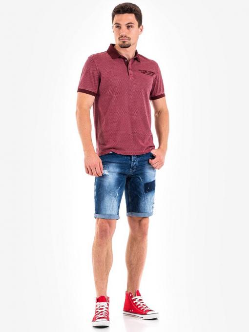 Мъжка блуза с къс ръкав - бордо 10789-30 INDIGO Fashion