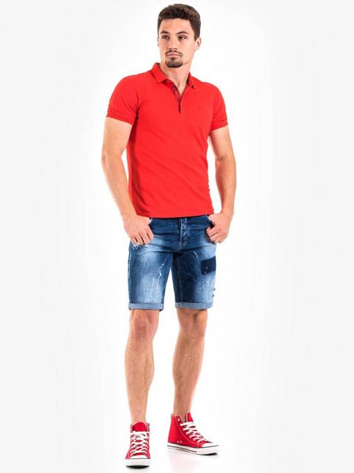 Мъжка памучна блуза с къс ръкав - червена 501365 INDIGO Fashion