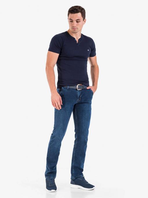 Мъжка тъмносиня вталена тениска 501369 INDIGO Fashion