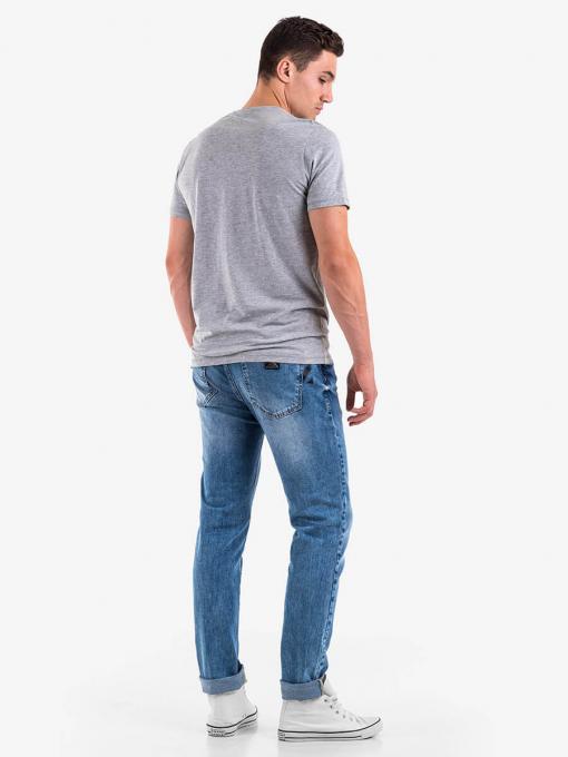 Памучна мъжка тениска с щампа - сива 10787 INDIGO Fashion