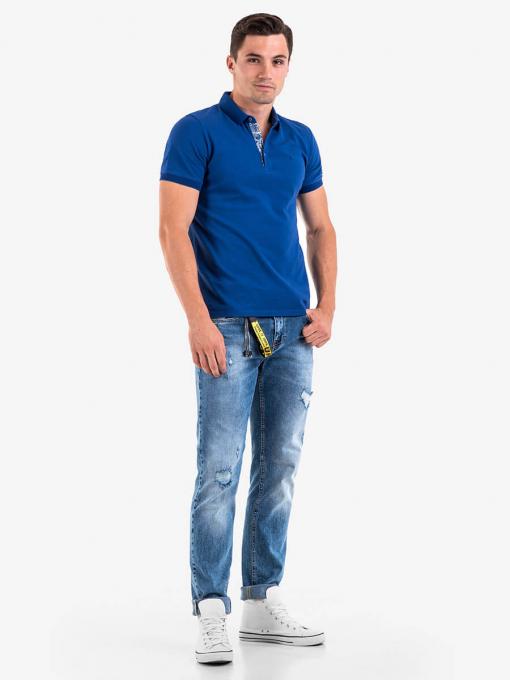Мъжка памучна блуза с къс ръкав - синя 501365 INDIGO Fashion