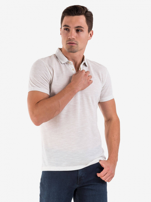 Мъжка  блуза с яка - екрю 501404 INDIGO Fashion
